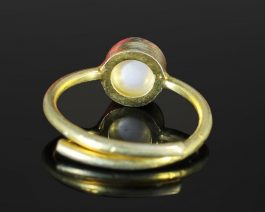 Round Pearl Gold Plated Adjustable Ring