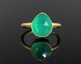 Pear Green Onyx Sterling Silver Ring