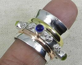 925 Silver Spinner Ink Hydro Blue & Peridot Hydro Ring