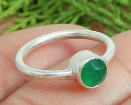 Round Green Onyx Sterling Silver Ring