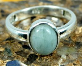 Oval Aquamarine Stackable Ring