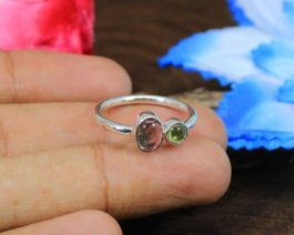Green & Pink Tourmaline Sterling Silver Ring