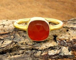 Natural Red Onyx 925 Ring