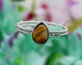 925 Sterling Silver Bumble Bee Jasper Ring