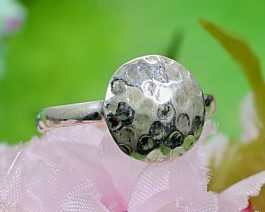 Hammered Disc Solid Silver Ring