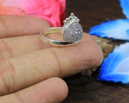 Natural Silver Druzy Sterling Silver Ring