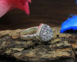 Coated Druzy 925 Sterling Silver Ring