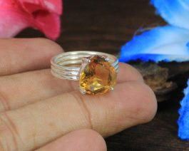 Natural Citrine Sterling Silver Prong Ring