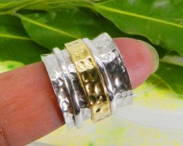 Wide Spinner Hammered Silver Ring