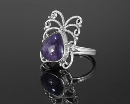 Natural Amethyst Double Band Silver Ring
