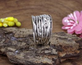 Solid Silver Hammered Ring