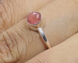 Cherry Crackle Glass Gemstone Stackable Ring