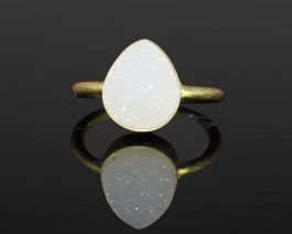 Pear White Druzy Sterling Silver Ring