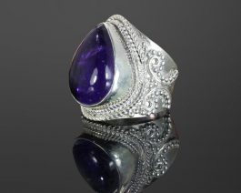 Natural African Amethyst Wide Band Gemstone Ring