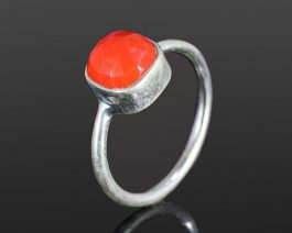 Synthetic Pink Coral Gemstone Ring