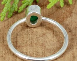 Oval Green Onyx Stackable Ring