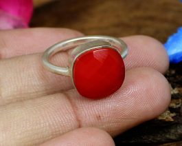 Synthetic Red Coral Ring