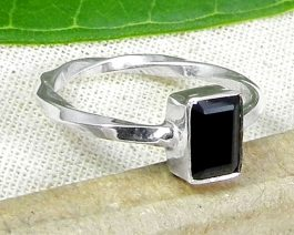 Rectangle Black Onyx Stackable Ring
