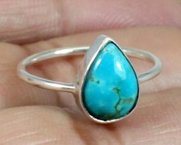 Pear Stone Turquoise Silver Ring
