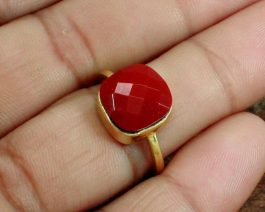 Synthetic Red Coral Unisex Ring