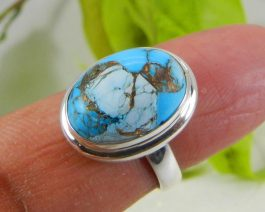 Oval Gemstone Mohave Turquoise Ring