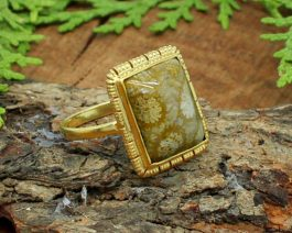 Natural Fossil Coral Gemstone Ring