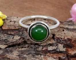 Round Green Onyx Stackable Ring