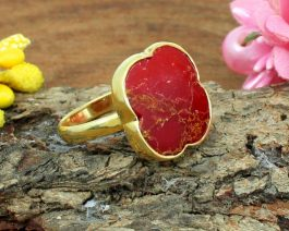 Red Mohave Turquoise Gemstone Ring