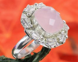 Cushion Pink Chalcedony Ring