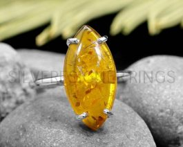 Marquise Synthetic Amber Silver Ring