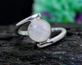 Rainbow Moonstone Silver Bypass Ring
