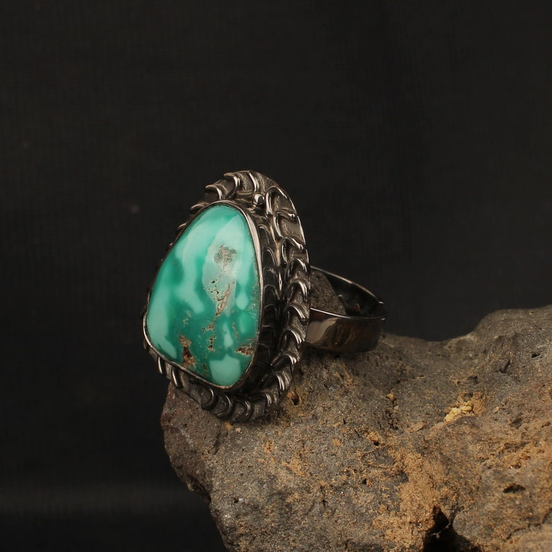 Oxidized Silver Turquoise Ring